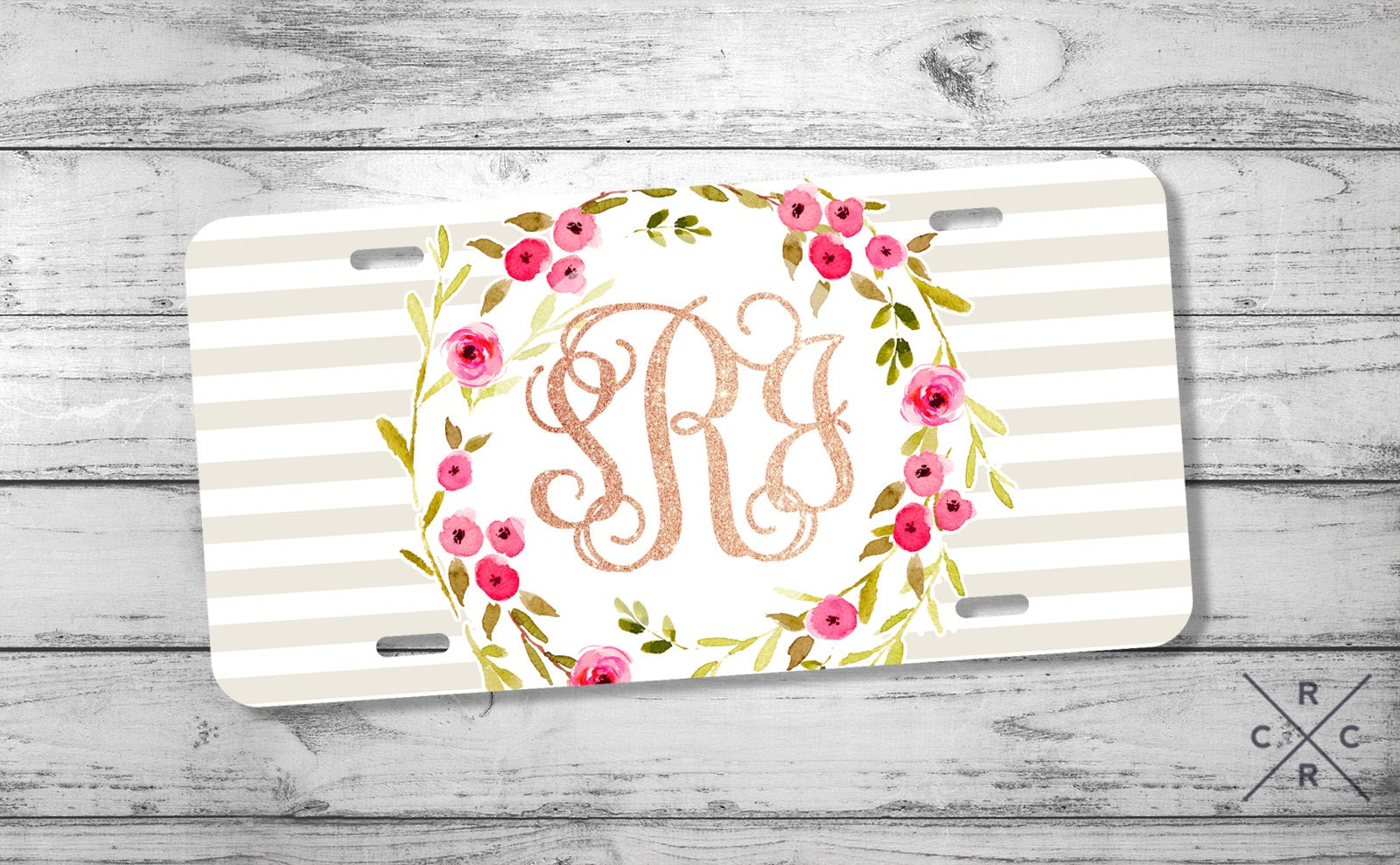 Rose Gold Decor Monogram License Plate Personalized Gift for