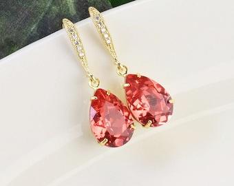 Coral Earrings Gold Swarovski Earrings Bridal Crystal Drop Earrings Bridesmaid Jewelry Wedding Teardrop Earrings Bridal Party Gifts Jewelry