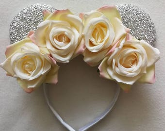 Bridal white roses flower crown minnie mouse ears.