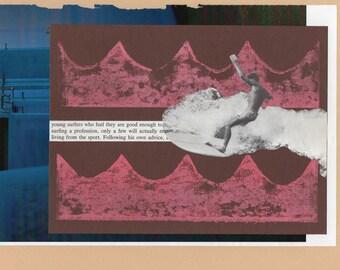 Original Mixed Media Collage Surfing