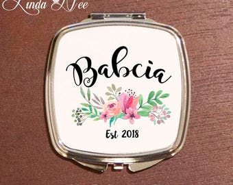 New Babcia Gift, Pregnancy Announcement, Baby Reveal Gift to Babcia, Grandma to be Gift Babcia Reveal Compact Mirror, Floral Mirror XPH17