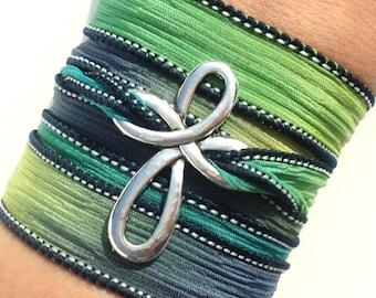 Cross Bracelet, Wrap Bracelet, Silk Wrap,Yoga Bracelet, Stocking Stuffer, Christian Jewelry, Religious Jewelry, Gift For Her, Teacher Gifts
