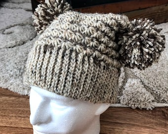 Double pompom square top beanie