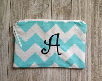 """Monogrammed Cosmetic Bag -  Zippered Pouch -  Make Up Bag - Black """"A"""""""