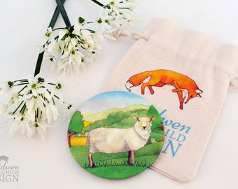 Sheep Fabric Pocket Mirror, Cosmetic Mirror, Makeup Mirror, Gifts for Women, Fabric Covered Mirror, Stocking Filler, Sheep Gift