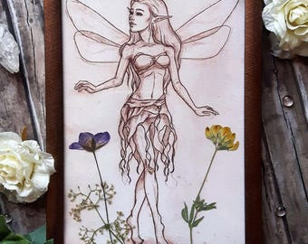 Framed Fairy Drawing Vintage Look