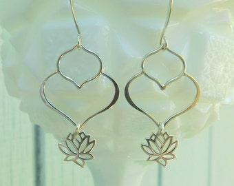 Sterling silver lotus petal earrings, lotus flower earrings, yoga earrings, dangle earrings, wedding earrings