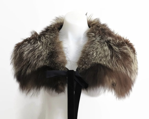 Vintage fox fur shrug, brown fur with blonde tips, soft winter fur, fur clip and velvet ribbon ties, small to medium size
