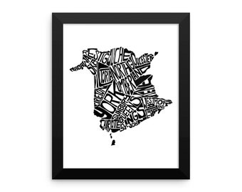 typography map art New Brunswick Canada FRAMED print poster custom personalized wedding engagement graduation gift anniversary wall decor