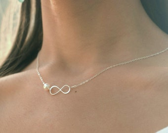 Friendship necklace, sisters, Mother's Day, infinity necklace, pearl necklace, dainty minimal necklace, layering necklace, bridesmaid gift
