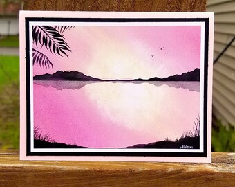 Sunrise Bay - Greeting Card, A2, Blank or Choice of Text, Handmade, Print of Original Watercolor Painting