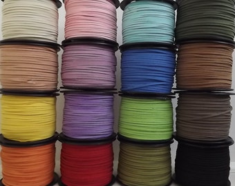Suede Cord, Faux Suede Cord,  Soft Flat cord, 3mm wide , Black or other colours, for bracelet, necklace and other craft - choice of metres.
