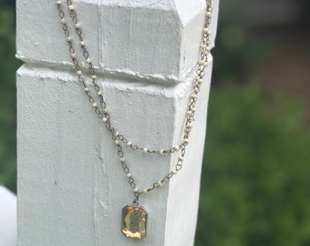 Double Champagne Jewel Necklace