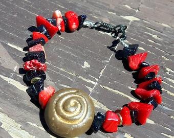 Red Jasper & Blue Goldstone Bracelet