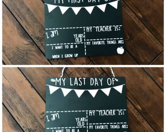 First day of school sign / Last day of school / chalkboard sign / back to school sign / double sided