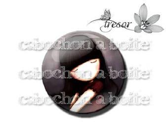 PA140 cabochons glass manual Retro girl, bird, children, rocking horse