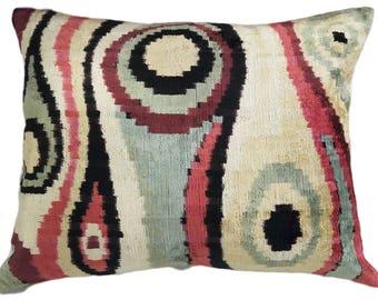 Ikat Silk Velvet Pillow