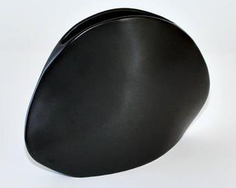 Modernist Japanese Pottery Matte Black Glaze Sculptural Ceramic Ikebana Vase