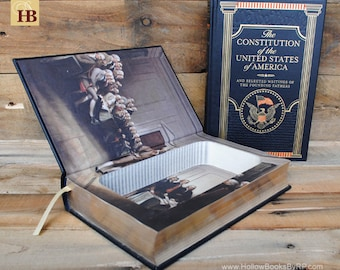 Hollow Book Safe - Constitution of the United States of America - Leather Bound