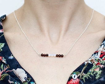 Sterling silver, garnets and opals necklace. Multicolored necklace. Silver chain garnets necklace. Summer garnet pendant. Delicate necklace.
