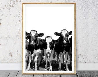 Cow Print, Cow Wall Art, Farm Cow Print, Nursery Farm Animal Wall Art, Black and White Printable Photo, Farm Animal Print, Black White Photo