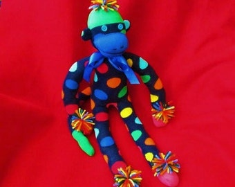 Harlequin Sock Monkey Polka Dotted Stuffed Animal Toy Doll Plush