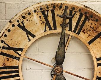 Paris Photography, Flea Market Finds, Paris Clock, butter yellow, antique clock, paris wall decor, Paris Photo