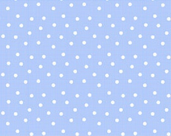 Pam Kitty Morning LakeHouse Fabric Ping Polka Dot Dots 1/8 in White on Sky Blue