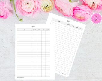 Grey Book Tracker with Personal Library Book List for Large Kikki K and A5 Filofax Planners - Instant Downloadable Planner Insert