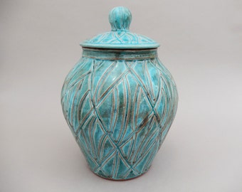 Turquoise Pottery Jar - Carved Lidded Canister