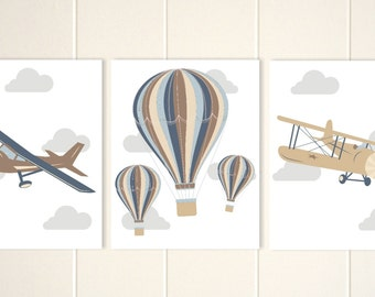Vintage nursery wall art, toddler boy wall art, baby boy transportation nursery art, hot air ballon, transportation art, set of 3