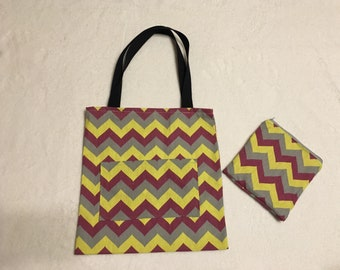 Chevron canvas tote with matching pouch