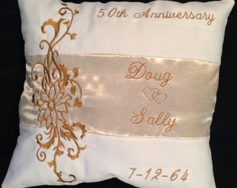 Unique customizable 50th anniversary pillow personalized silver 25th, 10th, 20th, 30th, 40th