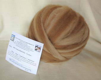 4 oz. Alpaca Light Fawn/Medium Fawn Striped Roving - for Spinning, Nuno Felting or Needlefelting