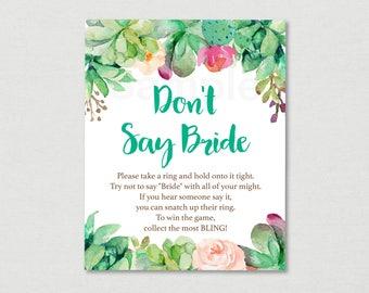 Floral Succulent Don't Say Bride Game / Floral Bridal Shower / Watercolor Floral / Watercolor Succulent / Printable INSTANT DOWNLOAD B116