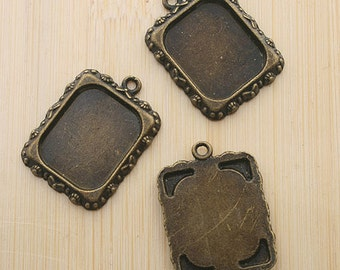 10pcs 20x17mm antiqued bronze picture frame charm G473
