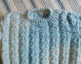 sweater child 8 years (speckled) pastel green girl handmade new