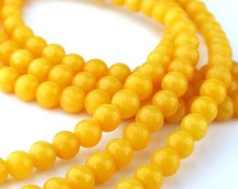35pcs of 4.5mm Yellow Mountain Jade Round Beads