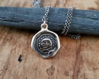 Bronze Skull & Crossbone Necklace -  Memento Mori Wax Seal Skull Necklace - 347
