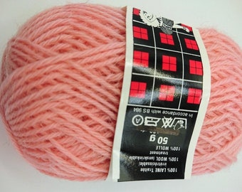 10 balls 100% pure wool / rose / made in FRANCE