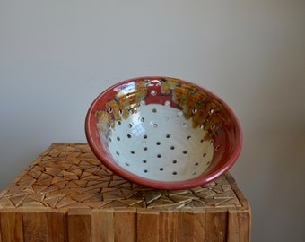 Vintage Handmade Stoneware Colander | Hand Thrown Signed Pottery Strainer Bohemian Style | Pottery Fruit Bowl