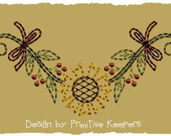 Primitive Machine Embroidery Design-Sunflower Garland--Version 2--(4X4)-INSTANT DOWNLOAD