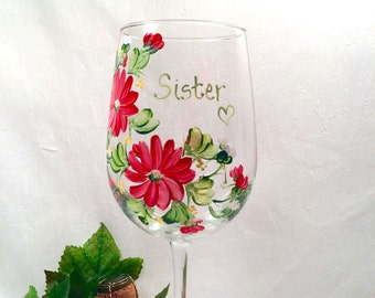 Free shipping Personalizable hand painted floral wine glass for sisters mother grandma aunt sister in law daughter friend bridesmaids