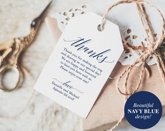 Thank You Tags, Wedding Thank You, Gift Tags, Wedding Favor, Thank You, Navy Wedding Printable, Navy Blue, PDF Instant Download #BPB320_32