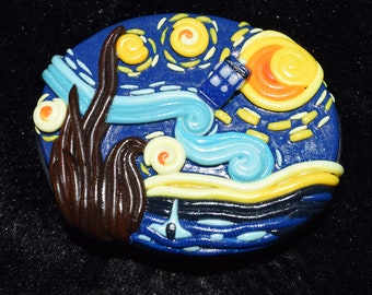 Starry Night with TARDIS Polymer Clay Decorated Box