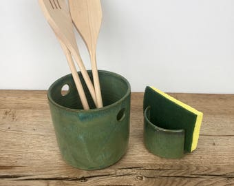 Green hand made ceramic kitchen spoon holder and matching sponge holder. Kitchen set.