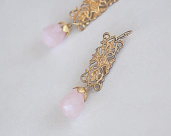 Rose Quartz Filigree Earrings Chandelier Dangle Drop Earrings Perfect Gifts For Her