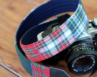 Custom Camera Strap, mens camera strap, padded strap cover, plaid, reversible, dslr camera strap, nikon, canon camera strap, boyfriend gift