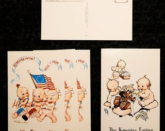 Kewpie Doll postcards - three bicentennial cards and one Kewpie Dolls Eating card