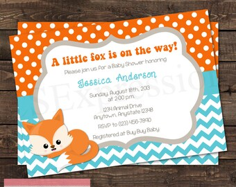 Orange and Teal Chevron Laying Down Baby Fox Baby Shower Invitation